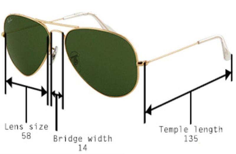 слънчеви очила размери